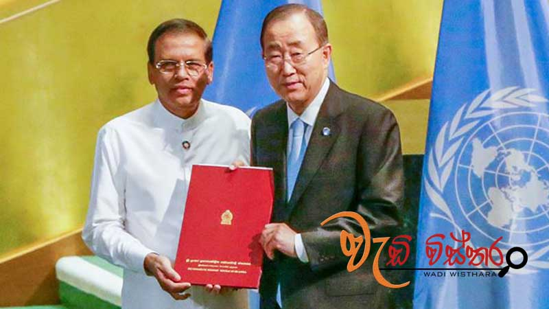 President Maithripala Sirisena handed over a document to UN Sec. General.