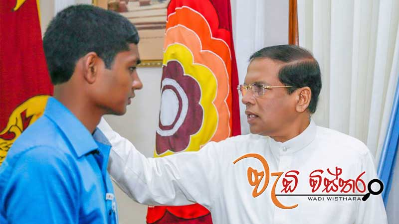 Hacking child met President Maithripala Sirisena